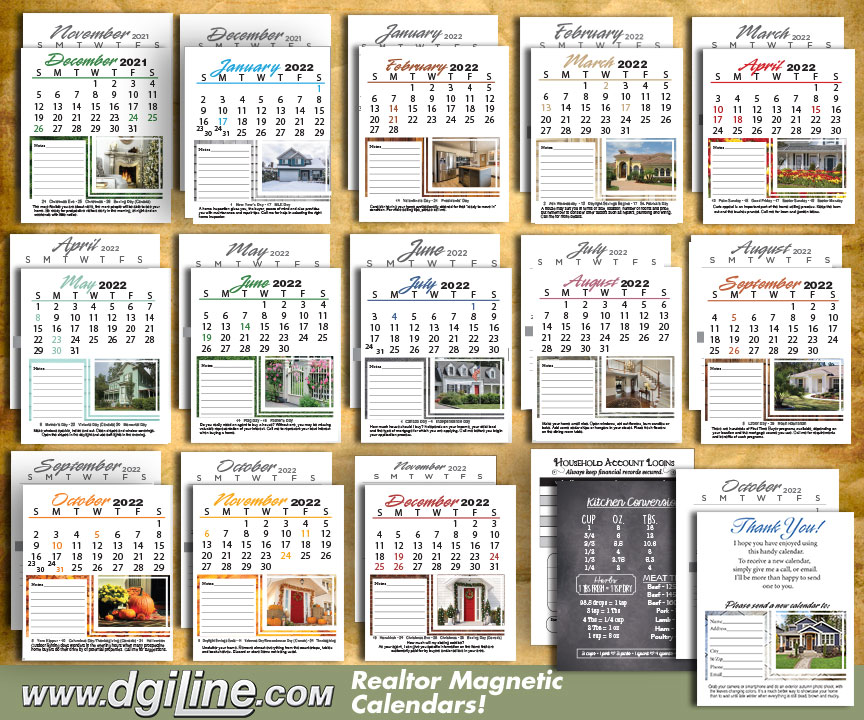 Realtor Business Card Calendar - All Pages Preview
